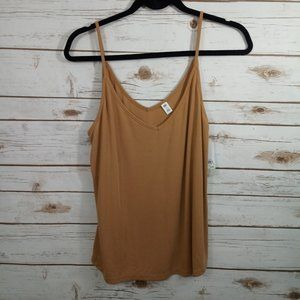 BP Tan Sugar Spaghetti V Neck Strap Tank Top  M